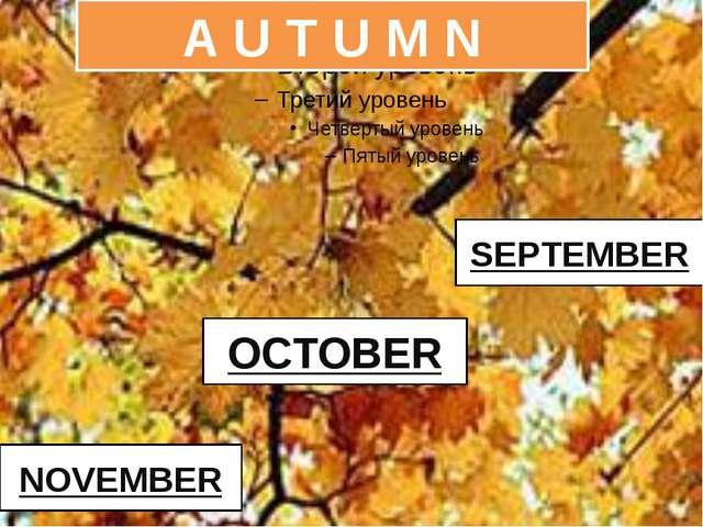 OCTOBER NOVEMBER SEPTEMBER A U T U M N