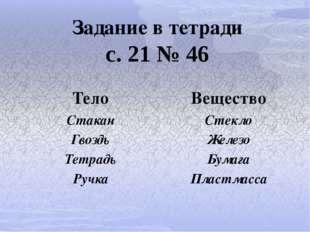 Задание в тетради с. 21 № 46 Тело Вещество Стакан Стекло Гвоздь Железо Тетрад