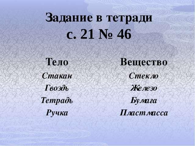 Задание в тетради с. 21 № 46 Тело Вещество Стакан Стекло Гвоздь Железо Тетрад...