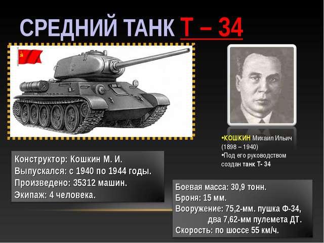 СРЕДНИЙ ТАНК Т – 34 КОШКИН Михаил Ильич (1898 – 1940) Под его руководством со...