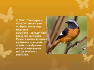 С 1996 г. Союз охраны птиц России ежегодно выбирает птицу года. Цель этой кам