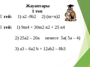 Жауаптары 1 топ 1 деңгей: 1) а2 -9b2 2) (m+n)2 2 деңгей: 1) 9m4 + 30m2 n2 + 2