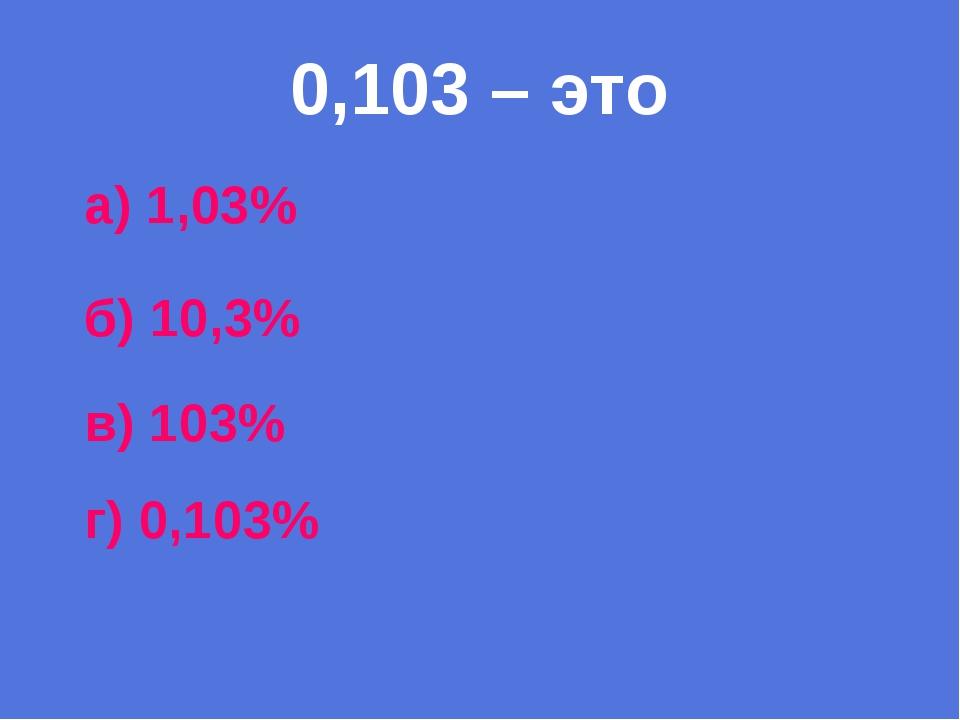 0,103 – это а) 1,03% б) 10,3% в) 103% г) 0,103%