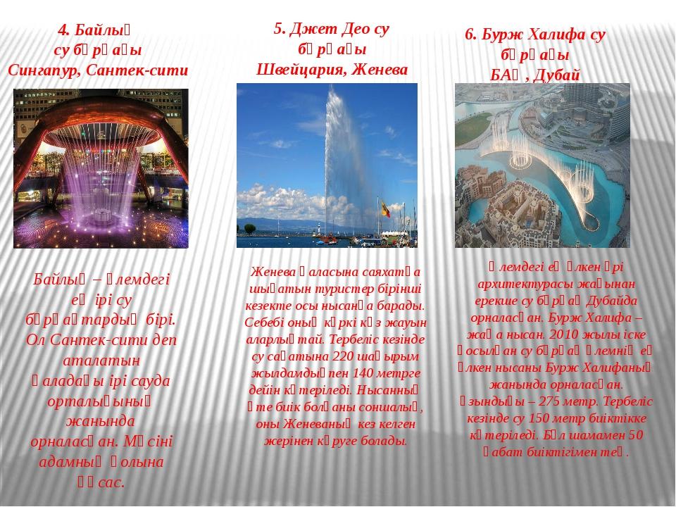 4. Байлық су бұрқағы Сингапур, Сантек-сити Байлық – әлемдегі ең ірі су бұрқақ...