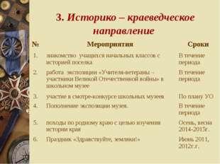 3. Историко – краеведческое направление №МероприятияСроки 1.знакомство уч