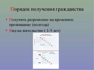 Порядок получения гражданства Получить разрешение на временное проживание (по