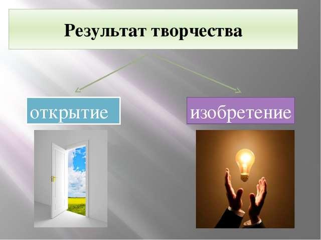 Результат творчества открытие изобретение