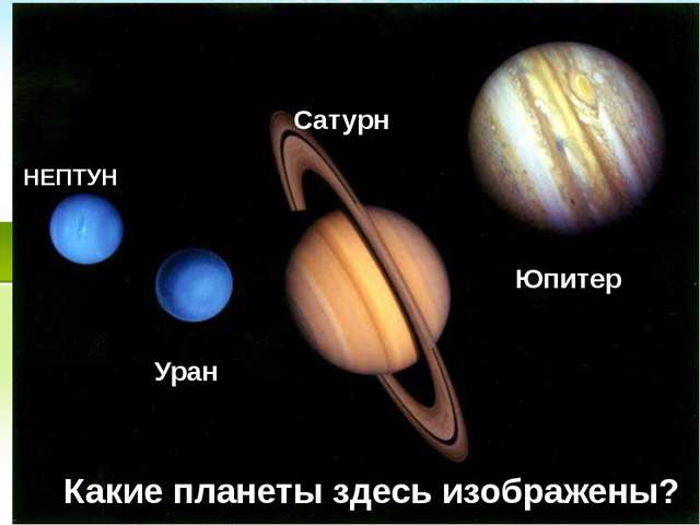 Какие планеты здесь изображены? НЕПТУН Уран Сатурн Юпитер