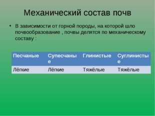 Механический состав почв В зависимости от горной породы, на которой шло почво