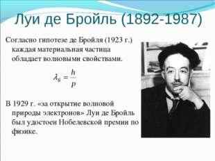 Луи де Бройль (1892-1987) Согласно гипотезе де Бройля (1923 г.) каждая матери