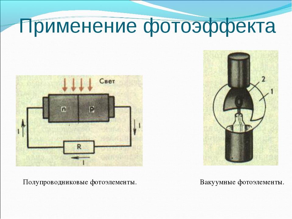 Применение фотоэффекта Вакуумные фотоэлементы. Полупроводниковые фотоэлементы.