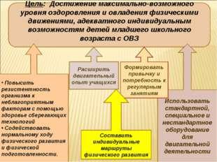 Цель: Достижение максимально-возможного уровня оздоровления и овладения физич