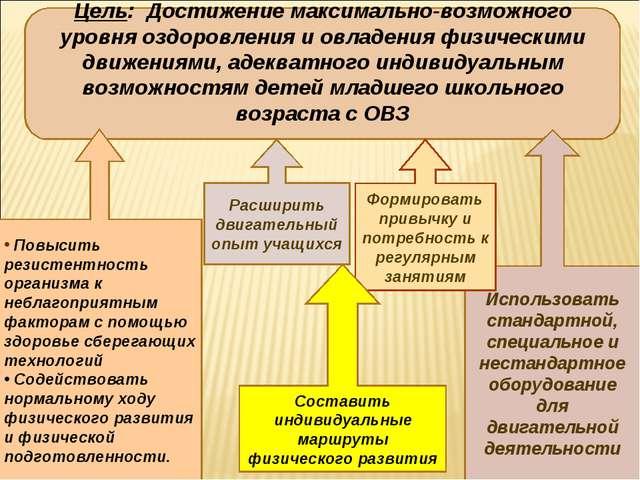 Цель: Достижение максимально-возможного уровня оздоровления и овладения физич...