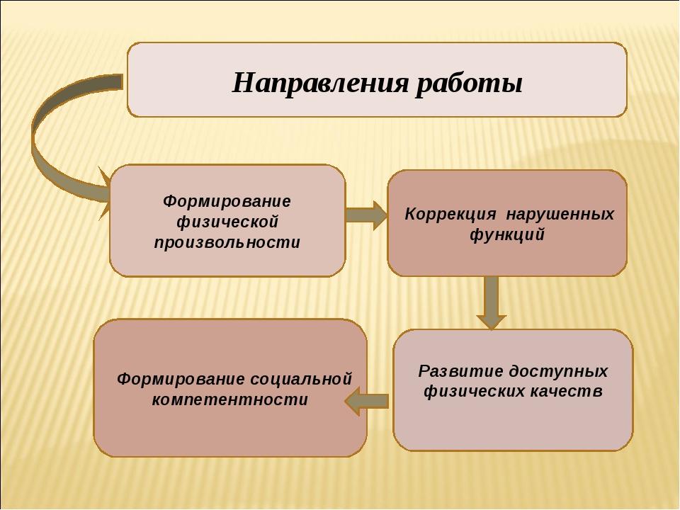 Направления работы Формирование физической произвольности Формирование социал...