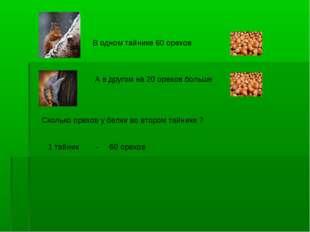В одном тайнике 60 орехов А в другом на 20 орехов больше Сколько орехов у бел