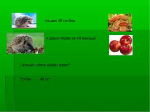 Нашел 48 грибов А диких яблок на 40 меньше Сколько яблок нашел ежик? Грибы -