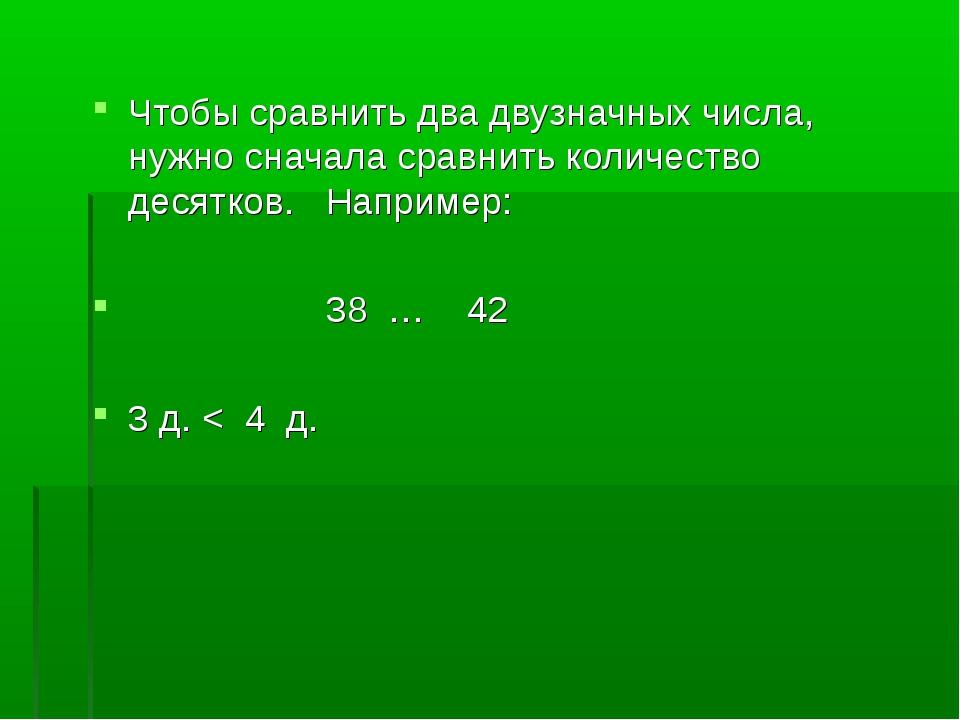 Чтобы сравнить два двузначных числа, нужно сначала сравнить количество десятк...