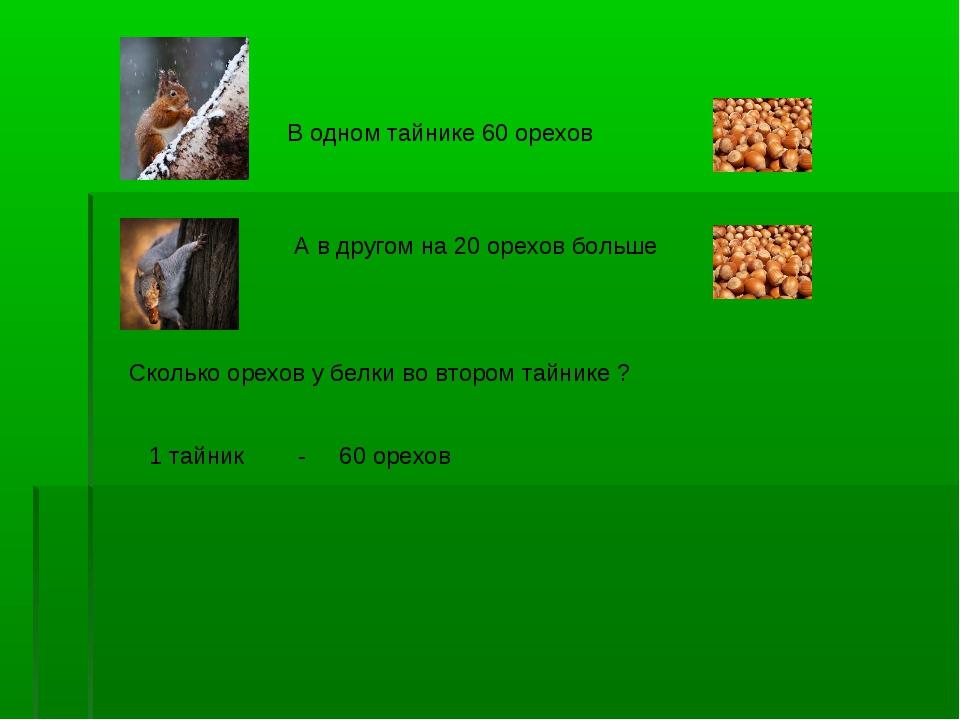 В одном тайнике 60 орехов А в другом на 20 орехов больше Сколько орехов у бел...