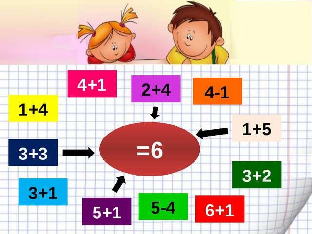 5+1 3+1 2+4 6+1 3+3 3+2 4-1 1+5 5-4 4+1 1+4 =6