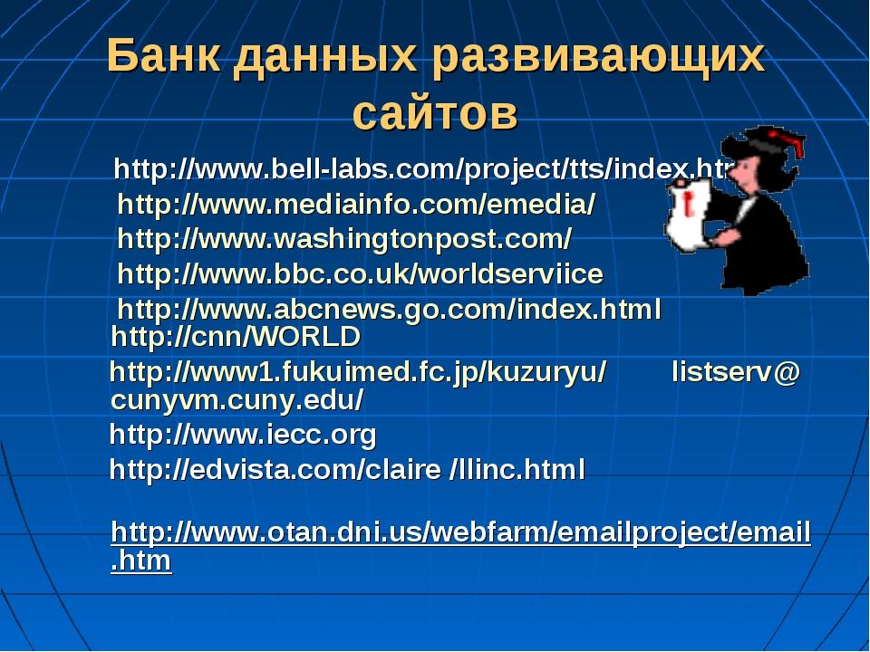 Банк данных развивающих сайтов http://www.bell-labs.com/project/tts/index.htm...