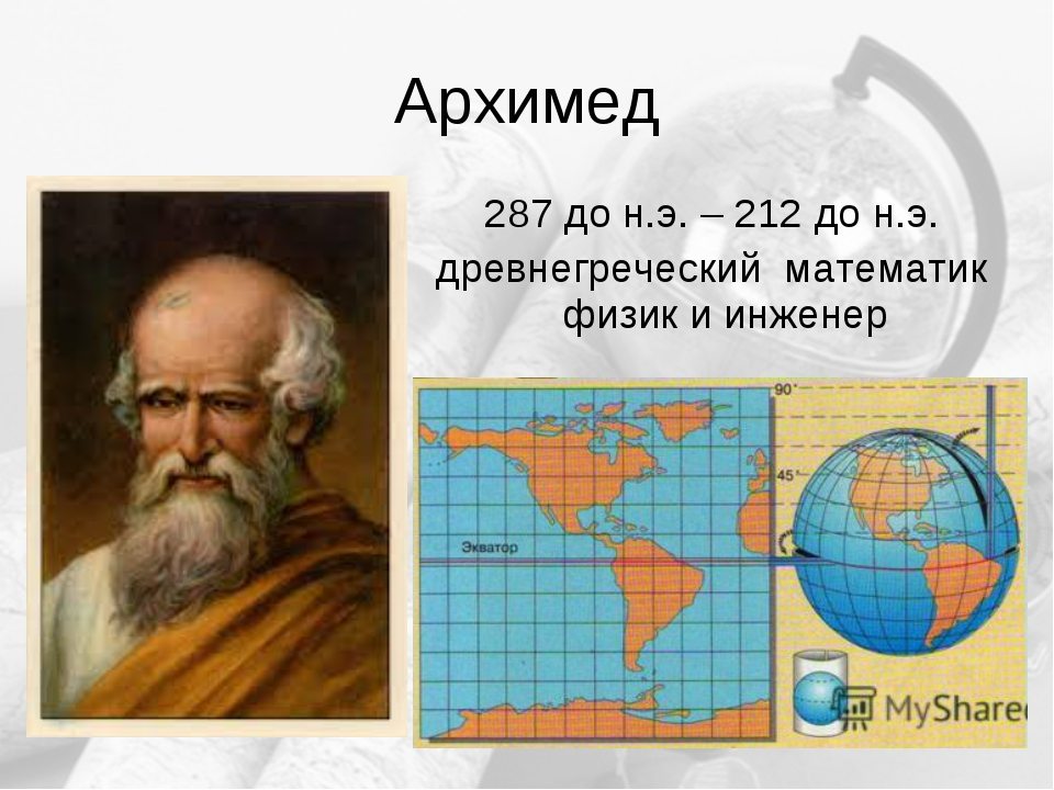Архимед 287 до н.э. – 212 до н.э. древнегреческий математик физик и инженер