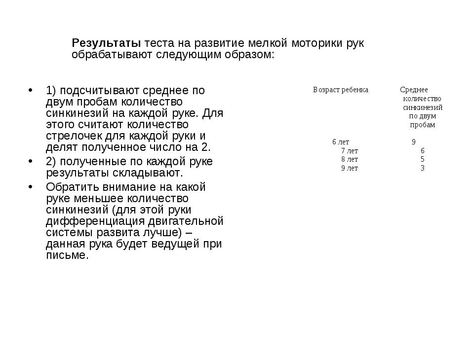 1) подсчитывают среднее по двум пробам количество синкинезий на каждой руке....