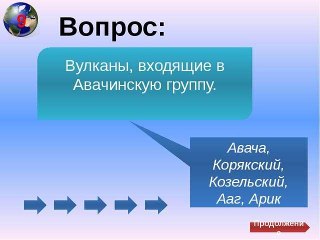 Вопрос: Авача, Корякский, Козельский, Ааг, Арик Вулканы, входящие в Авачинск...