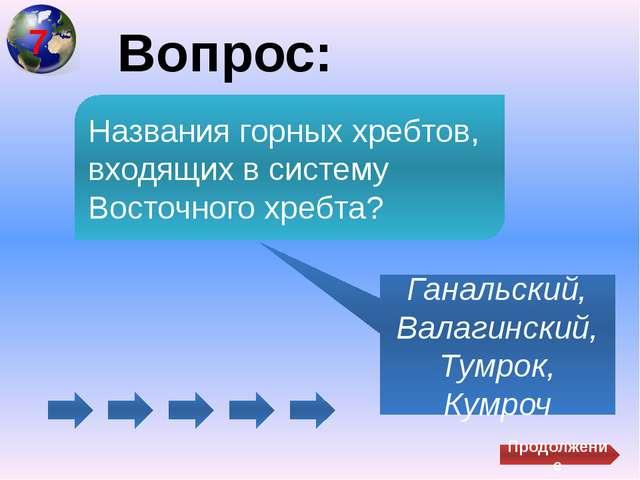 Вопрос: Ганальский, Валагинский, Тумрок, Кумроч Названия горных хребтов, вхо...