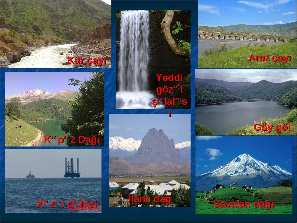 Kür çayı Kəpəz Dağı Xəzər dənizi İlanlı dağ Araz çayı Göy göl Savalan dağı Ye...