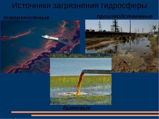 Источники загрязнения гидросферы поверхностные производственные бытовые