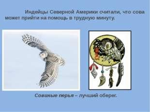 Индейцы Северной Америки считали, что сова может прийти на помощь в трудную