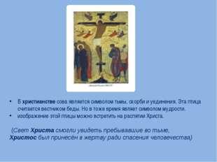 Вхристианствесова является символом тьмы, скорби и уединения. Эта птица сч