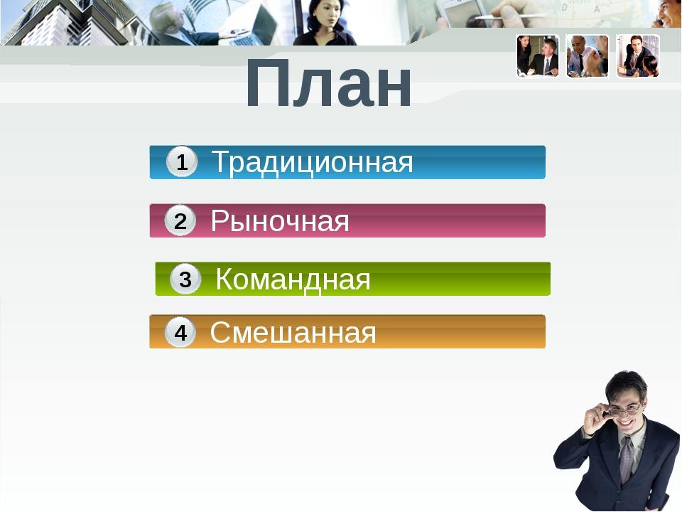 План Традиционная 1 Рыночная 2 Командная 3 Смешанная 4
