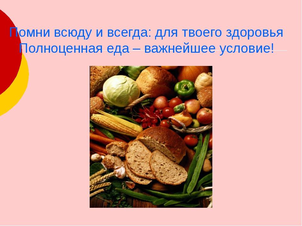Помни всюду и всегда: для твоего здоровья Полноценная еда – важнейшее условие...