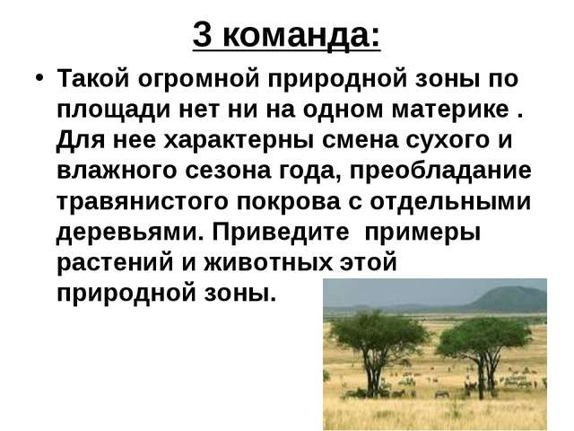 3 команда: Такой огромной природной зоны по площади нет ни на одном материке...