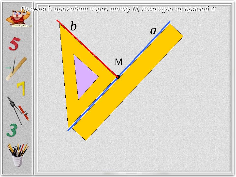 М Прямая b проходит через точку М, лежащую на прямой а а b