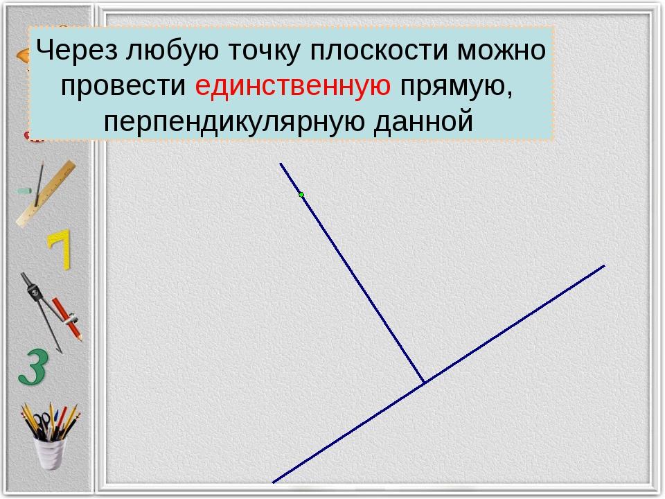 Через любую точку плоскости можно провести единственную прямую, перпендикуляр...