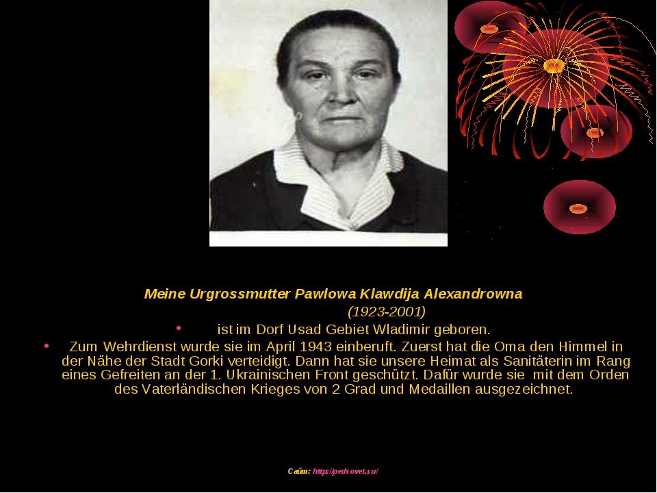 Meine Urgrossmutter Pawlowa Klawdija Alexandrowna (1923-2001) ist im Dorf Us...