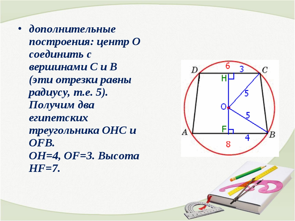 дополнительные построения: центр О соединить с вершинами С и В (эти отрезки р...