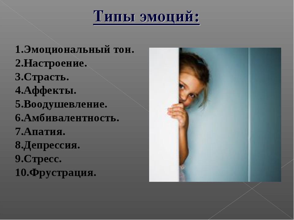 Типы эмоций: Эмоциональный тон. Настроение. Страсть. Аффекты. Воодушевлен...
