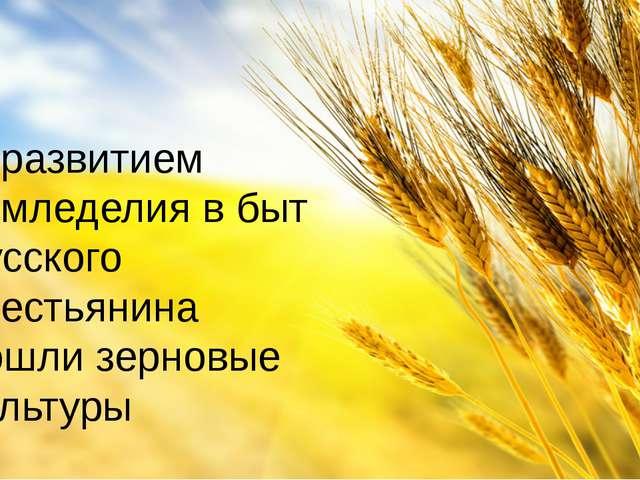 С развитием земледелия в быт русского крестьянина вошли зерновые культуры