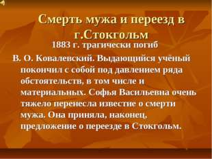 Смерть мужа и переезд в г.Стокгольм 1883 г. трагически погиб В. О. Ковалевски
