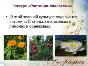 Конкурс «Растения-спасатели» В этой зеленой культуре содержится витамина С с