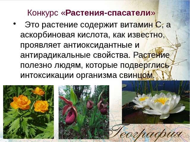 Конкурс «Растения-спасатели» Это растение содержит витамин С, а аскорбиновая...