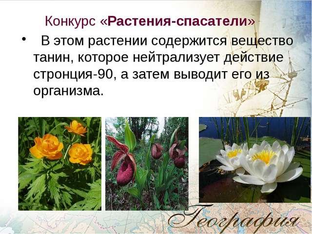 Конкурс «Растения-спасатели» В этом растении содержится вещество танин, кото...