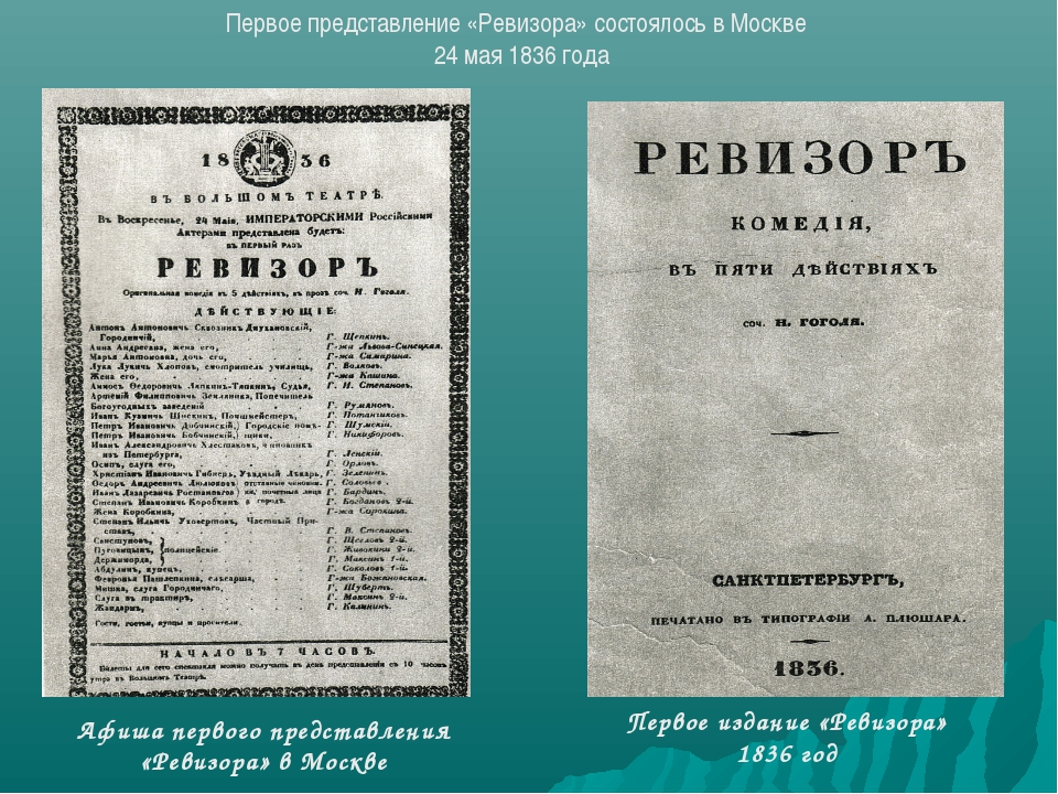 Афиша первого представления «Ревизора» в Москве Первое издание «Ревизора» 183...