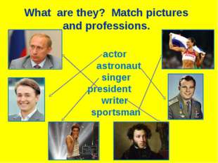 actor astronaut singer president writer sportsman What are they? Match pictu