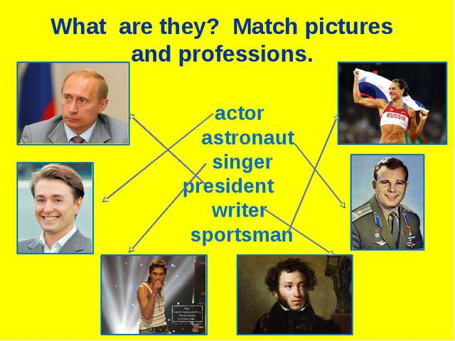 actor astronaut singer president writer sportsman What are they? Match pictu...