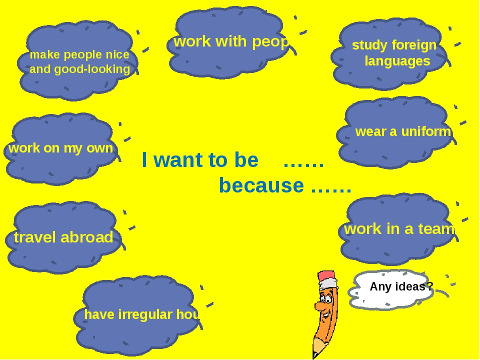 I want to be …… because …… work with people travel abroad make people nice an...