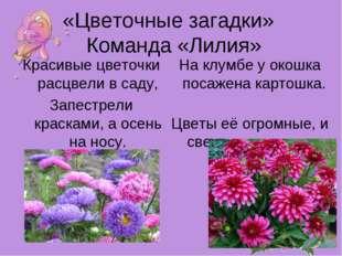 «Цветочные загадки» Команда «Лилия» Красивые цветочки расцвели в саду, Запест